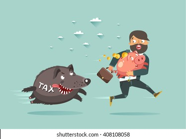 Tax consulting, tax planning and tax optimization funny concept. Businessman with briefcase and Piggy Bank run away from Taxes wolf. Vector colorful illustration in flat style
