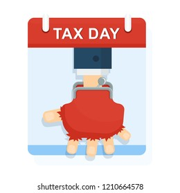 Tax day concept. Poverty and misery. Lack of funds to pay taxes. Hand in a worn empty wallet. Flat vector illustration on white background.