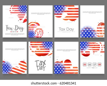 Tax Day Poster Or Banner Background Set.