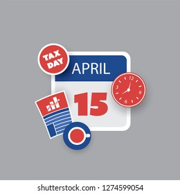 Tax Day Reminder Concept - Calendar Design Template - USA Tax Deadline, Due Date for Federal Income Tax Returns: 15 April 2019