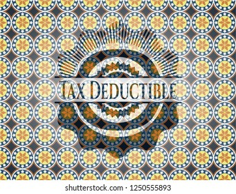 Tax Deductible arabesque style emblem. arabic decoration.