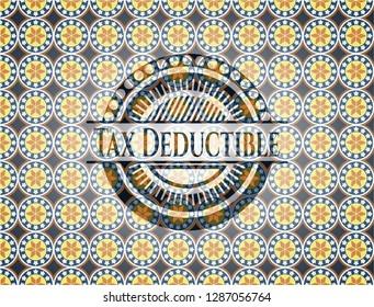 Tax Deductible arabic style emblem. Arabesque decoration.