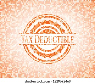 Tax Deductible orange tile background illustration. Square geometric mosaic seamless pattern with emblem inside.