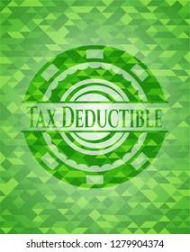 Tax Deductible realistic green mosaic emblem