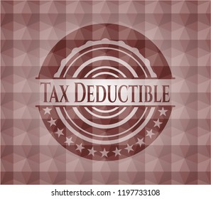 Tax Deductible red badge with geometric pattern background. Seamless.
