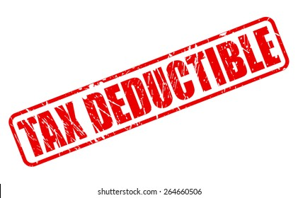 Tax deductible red stamp text on white