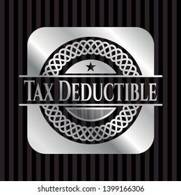 Tax Deductible silver emblem. Vector Illustration. Mosaic.