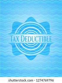 Tax Deductible water representation emblem.