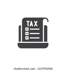 Tax document and laptop vector icon. filled flat sign for mobile concept and web design. Online tax form simple solid icon. Symbol, logo illustration. Pixel perfect vector graphics