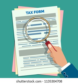 Tax form audit. Auditor hand holding magnifier preparation business taxes vector illustration, paper forms accounting check and audition concept