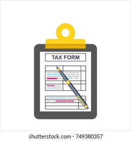 Tax form. Clipboard with tax form and pen. Modern flat design. Top view. Vector illustration