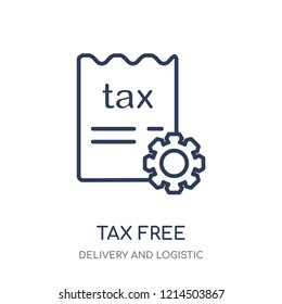 Tax free icon. Tax free linear symbol design from Delivery and logistic collection.
