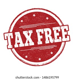 Tax free sign or stamp on white background, vector illustration
