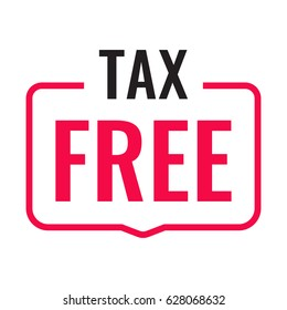 Tax free. Vector badge illustration on white background.