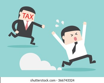 TAX hunting grab businessman. Flat design for business financial marketing banking advertisement office people property in minimal concept cartoon illustration.