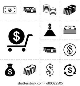 Tax icon. set of 13 filled and outline tax icons such as money, money sack, dollar