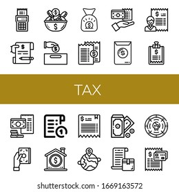 tax icon set. Collection of Bill, Invoice, Coin, Money, Money bag, Receipt icons