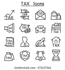 TAX icon set in thin line style