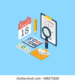 Tax icon vector. Tax payment. Isometric 3d design. Data analysis, paperwork, financial research, report. Calculation tax form. Vector. Payment of debt.