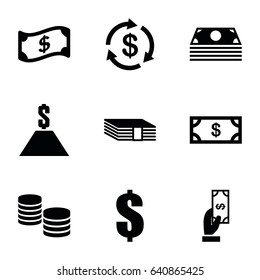 Tax icons set. set of 9 tax filled icons such as money, payment, dollar, crown