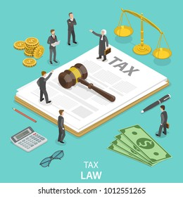 Tax law flat isometric vector concept. People surrounded by the tax and justice attributes are disputing on something.