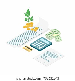 Tax payment. Bills with calculator, credit card, cash and coins. Payment of utility, family budget. Isometric flat design. Vector