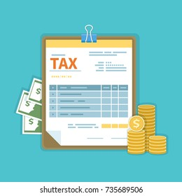 Tax payment concept. Government, State taxes. Financial calculation, debt, return. Tax unfilled form, cash, gold coins, tablet. Payday icon. Vector illustration.