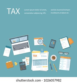 Tax payment concept. State Government taxation, calculation of tax, return. Invoice, bill paying. Tax form, calendar, magnifier, notebook, calculator, coins, glasses, documents, purse, laptop. Vector
