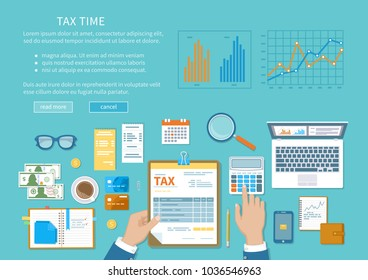 Tax payment concept. State Government taxation, calculation of tax, return. Unfilled blank tax form, calendar, magnifier, money, calculator, coins, documents, laptop. Vector  illustration