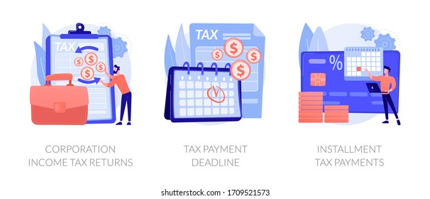 Tax payment conditions flat icons set. Deductible revenue. Corporation income tax returns, tax payment deadline, instalment tax payments metaphors. Vector isolated concept metaphor illustrations