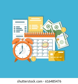 Tax payment day Concept. Income federal taxation, monthly installment, time period. Financial calendar, clock, money, cash, gold coins, credit card, invoices. Payday icon. Vector illustration