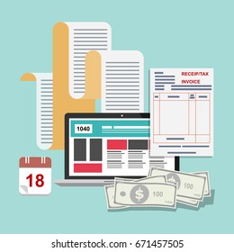 Tax payment, financial management audit, businessman, accountant Include invoicing, financial calculations, profit counting, income tax, statistics, data analysis, reporting planning. Flat design.