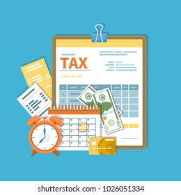 Tax payment. Government, State taxes. Payment day. Tax form on a clipboard, financial calendar, clock, money, cash, credit card, invoices.  Payday icon. Vector illustration.