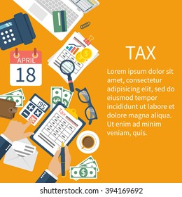 Tax payment. Government State taxes. Data analysis, paperwork, financial research, report. Businessman calculation. Calculation of tax return. Flat design vector. Payment of debt.