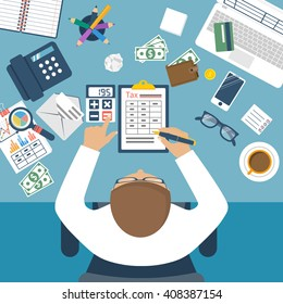 Tax payment. Government state taxes. Data analysis, paperwork, financial research, report. Businessman calculation. Calculation of tax return. Flat design. Payment of debt.