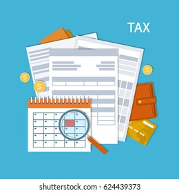 Tax payment. Government, State taxes. Payment day. Tax form, financial calendar, magnifying glass, money, gold coins, purse, credit card, invoices. Payday icon. Vector illustration.
