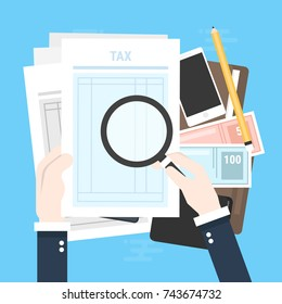 Tax payment. Government, state taxes. Data analysis, paperwork, financial research, report. Businessman calculation tax return. Flat design. Tax form vector. Payment of debt.