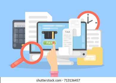 Tax payment online with computer. Anlyzing finances.
