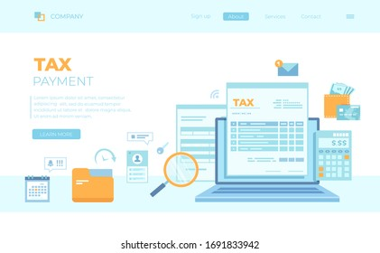 Tax payment. State Government taxation, calculation of tax return. Tax form, financial calendar, magnifying glass, money, credit card, invoice. Can use for web banner, landing page, web template.