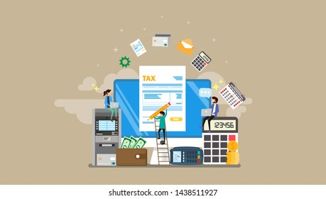 Tax Payment Tiny People Character Concept Vector Illustration, Suitable For Wallpaper, Banner, Background, Card, Book Illustration, Web Landing Page, and Other Related Creative