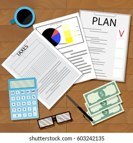 Tax plan vector. Calculate tax and plan profit illustration