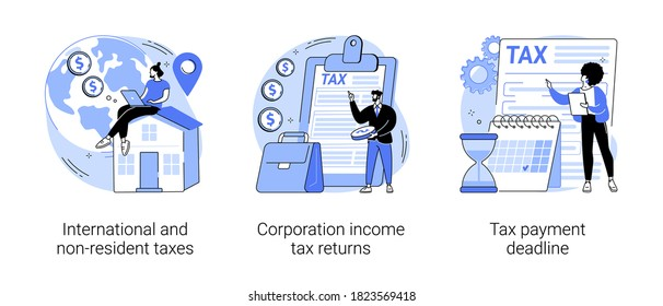 Tax planning and preparation abstract concept vector illustration set. International and non-resident taxes, corporation income tax return, payment deadline, vat refund, fiscal year abstract metaphor.