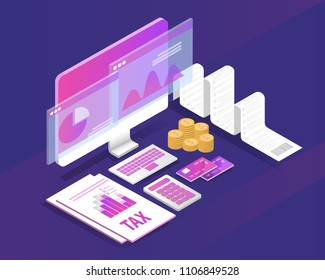 tax receipt and document concept. isometric accountant workspace elements money coins and financial. vector illustration