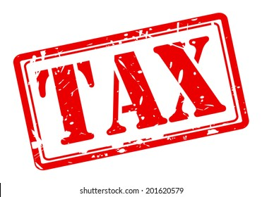 TAX red stamp on white