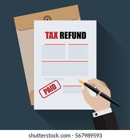 TAX Refund Document, Flat Designed vector illustration.