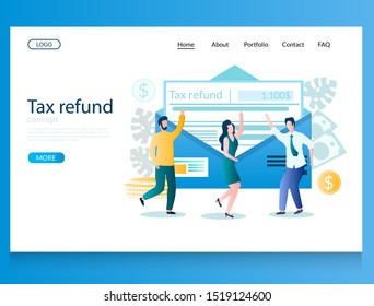 Tax refund vector website template, web page and landing page design for website and mobile site development. Tax rebate concept with characters.