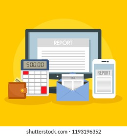 Tax report concept background. Flat illustration of tax report vector concept background for web design