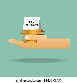 Tax return concept,coin and tax return sign on hand.