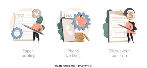 Tax return deadline abstract concept vector illustration set. Paper or phone tax filing, fill out your tax return, financial report, money refund, business profit, budget planning abstract metaphor.