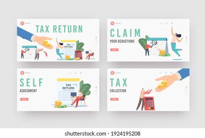 Tax Return Landing Page Template Set. Characters Get Money Refund for Purchasing, Mortgage or Health Care Service. People Save Budget, Huge Hand Give Money to Girl. Cartoon Vector People Illustration